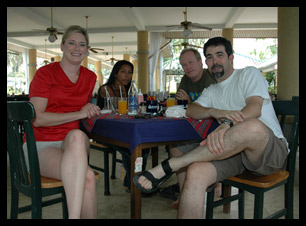 Christine and John meeting with Reid and his girlfriend in Chalong Bay, southern east coast of Phuket, Thailand